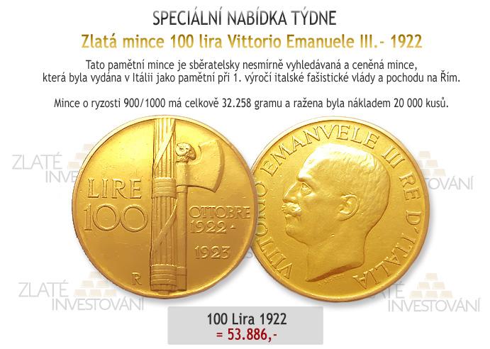 zlatá 100 lira 1922-numismatika