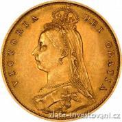 Investiční zlatá mince britský půl Sovereign-Victoria jubileum 1887-1893