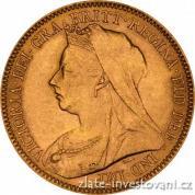 Investiční zlatá mince britský půl Sovereign-Victoria 1893-1901