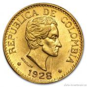 Zlatá mince pět pesos Kolumbie