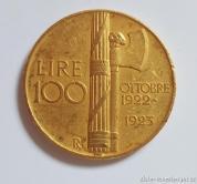 Zlatá mince 100 lira Vittorio Emanuele III.- 1922