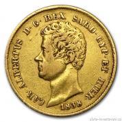 Zlatá mince 20 lira Carlo Alberto-Sardinie