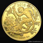 Investiční zlatá mince rok Opice 2016-lunární série Royal Australian Mint
