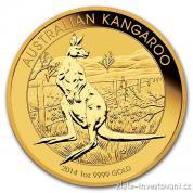Investiční zlatá mince australský klokan 2014-nugget