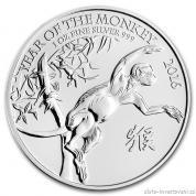 Stříbrná mince lunárního kalendáře rok Opice-British Royal Mint