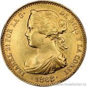 Zlatá mince 10 escudos-Královna Isabelle