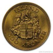 Zlatá mince 500 kronur-Island 1961