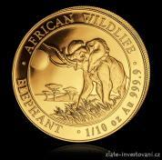 Investiční zlatá mince somálský slon 2016-African Wildlife