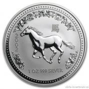 Investiční stříbrná mince rok Koně-2002-lunární série I.
