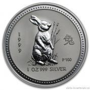 Investiční stříbrná mince rok Králíka 1999-lunární série I.