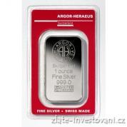 Investiční stříbrná cihla Argor Heraeus