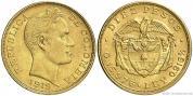 Zlatá mince 10 pesos-Kolumbie 1919