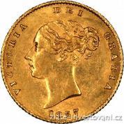 Investiční zlatá mince britský půl Sovereign-Victoria první portrét-štít