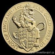 Investiční zlatá mince Lev královny Anglie 2016-Heraldická série