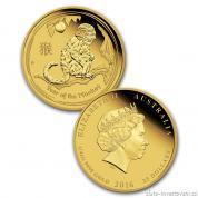 Investiční zlatá mince rok Opice 2016-lunární série II. proof