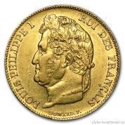Zlatá mince francouzský 20 Frank- Ludvík Filip I.