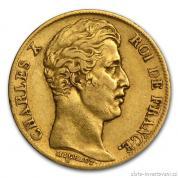 Zlatá mince francouzský 20 Frank- Charlex X. 1824-1830