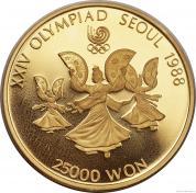 Zlatá mince Tanečnice s vějíři-Korea 1987