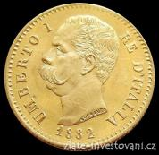 Zlatá mince italská 20 lira -Umberto I. 1882