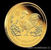 Investiční zlatá mince Rok kohouta 2017-lunární série II.