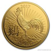 Investiční zlatá mince rok Kohouta 2017-lunární série Royal Australian Mint