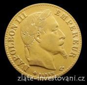 Zlatý francouzský 10 frank Napoleon III. 1861-1868