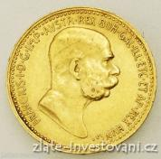Zlatá mince  Desetikoruna Františka Josefa I.- rakouská ražba 1910-velká hlava