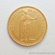Zlatá mince  Desetikoruna Františka Josefa I.- uherská ražba 1907