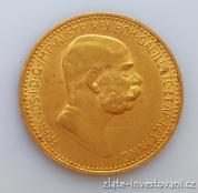 Zlatá mince  Desetikoruna Františka Josefa I. 1908-60 let vlády