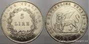 Stříbrná 5 lira 1848-revoluční benátská ražba
