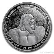 Investiční stříbrná mince Gorila 2017-Kongo