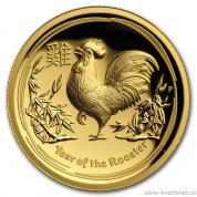 Zlatá mince Rok kohouta 2017-lunární série II. vysoký reliéf proof