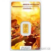 Investiční zlatá cihla Argor Heraeus-Podzim 2017 limitovaná edice Švýcarsko