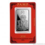 Investiční stříbrná cihla rok Psa 2018-PAMP Švýcarsko