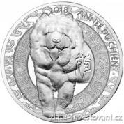 Stříbrná mince lunární série Pes 2018-Francie - proof vysoký reliéf