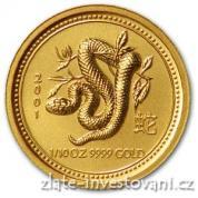 Investiční zlatá mince rok hada 2001