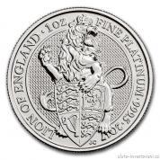 Investiční platinová mince Lev královny Anglie 2017-Heraldická série