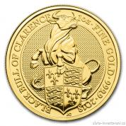 Investiční zlatá mince Býk  královny Anglie 2018-heraldická série