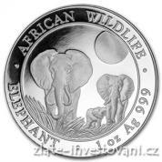 Investiční stříbrná mince somálský slon 2014