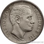 Stříbrná italská 1 lira-Vittorio Emanuele III. 1907
