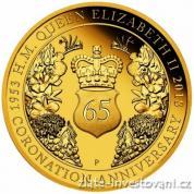 Zlatá mince 65. výročí korunovace  královny Alžběty II. 2018-Proof