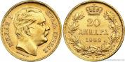 Zlatý jugoslávský 20 dinár Milan Obrenovič  I. 1882