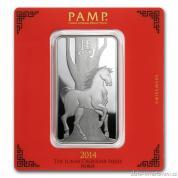 Investiční stříbrná cihla rok Koně  2014-PAMP Švýcarsko