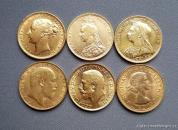 Investiční set zlatých britských sovereignů-Šest typů