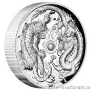 Stříbrná mince Drak a tygr 2018-proof-vysoký reliéf