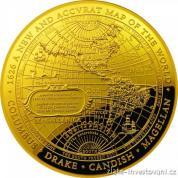 Zlatá minc Nová mapa světa 1626 proof - západní  hemisféra