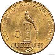Zlatá mince 5 quetzal  1926-Guatemala