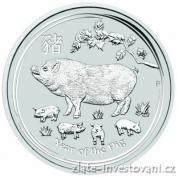 Investiční stříbrná  mince rok Vepře 2019-lunární série II.