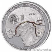 Stříbrná mince Historické obchodní cesty-Tea horse route 2017-cesta čaje
