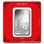 Investiční stříbrná cihla rok Vepře 2019-PAMP Švýcarsko